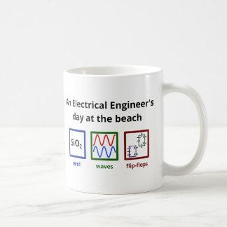 Un día del ingeniero eléctrico en la playa taza de café