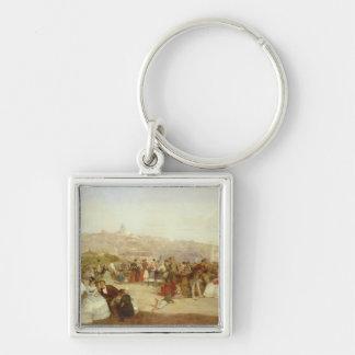 Un día en Boulogne, 1870 (aceite en lona) Llavero Cuadrado Plateado