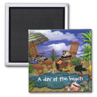 Un día en la playa imán cuadrado