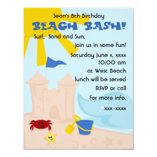 """Un día en la playa invitación 4.25"""" x 5.5"""""""