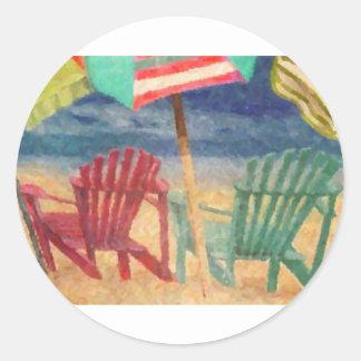 Un día en la playa pegatina redonda