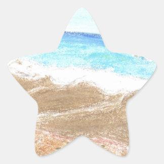 Un día en la playa pegatina en forma de estrella