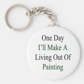 Un día haré A que vive fuera de la pintura Llavero Redondo Tipo Pin