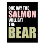 Un día los salmones comerán el oso tarjeta postal