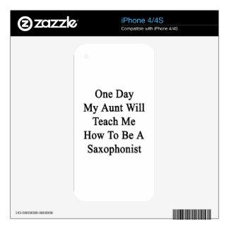 Un día mi tía Will Teach Me How de ser un Saxophon iPhone 4 Calcomanías