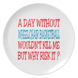 Un día sin baloncesto de silla de ruedas no plato para fiesta