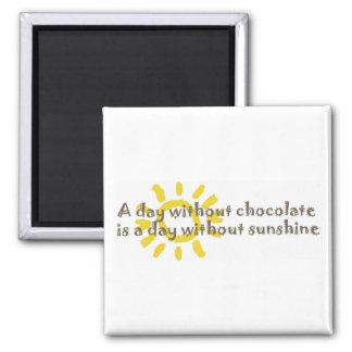 Un día sin sol es un día sin el chocolate imán cuadrado