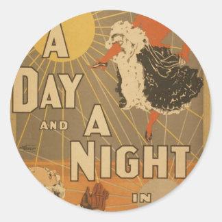 Un día y una noche en Nueva York, Thea retro de Pegatina Redonda