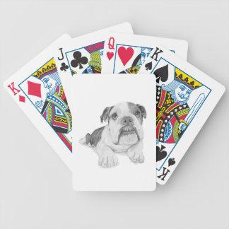 Un dibujo del perrito del dogo baraja de cartas bicycle