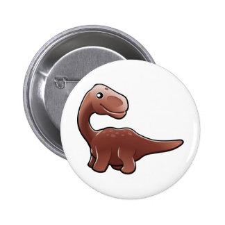 Un dinosaurio amistoso lindo del diplodocus pin redondo de 2 pulgadas