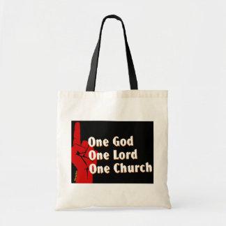 Un dios, un señor, un regalo del cristiano de la i bolsa tela barata