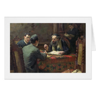 Un discusión teológico, 1888 tarjeta de felicitación