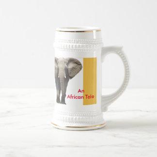 Un diseño africano del elefante del cuento jarra de cerveza