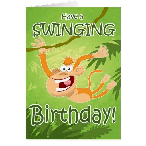 Un diseño de tarjeta de balanceo de cumpleaños por