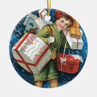 Un diseño de tarjeta del vintage de las Felices Na Ornamentos Para Reyes Magos