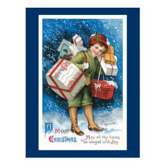 Un diseño de tarjeta del vintage de las Felices Na Postales