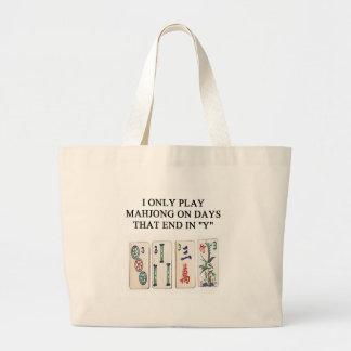 un diseño divertido del mahjong bolsa de tela grande