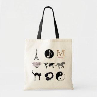 un diseño femenino con el monograma bolsa tela barata