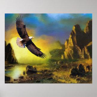 Un diseño patriótico con Eagle calvo que vuela Póster