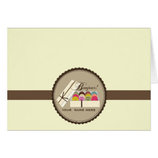 Un docena franceses Macarons Bonjour Notecard Tarjeta Pequeña