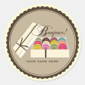 Un docena franceses Macarons Bonjour personalizado Pegatina Redonda