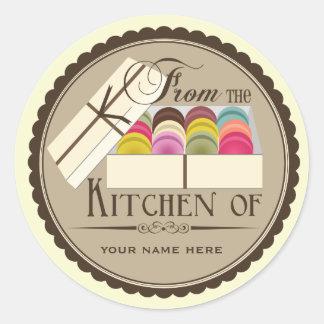 """Un docena franceses Macarons """"de la cocina de """" Etiqueta Redonda"""