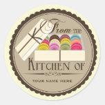 """Un docena franceses Macarons """"de la cocina de """" Pegatina Redonda"""