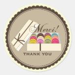 Un docena franceses Macarons Merci le agradecen Pegatinas