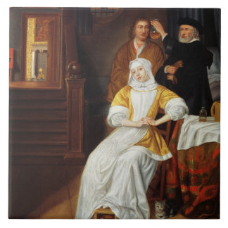 Un doctor Visiting una señora joven en un dormitor Azulejo Cuadrado Grande