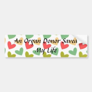 Un donante de órganos ahorró a mi pegatina para el etiqueta de parachoque