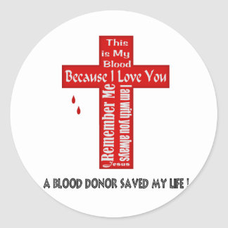 Un donante de sangre pegatinas redondas