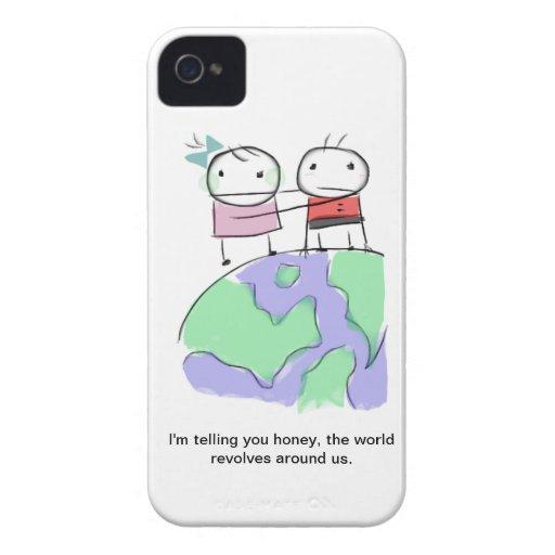 Un doodle tierra-cariñoso lindo por Monsterize iPhone 4 Case-Mate Carcasa