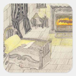Un dormitorio en un castillo medieval pegatina cuadrada
