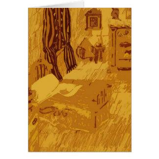 Un dormitorio en un castillo medieval tarjeta de felicitación