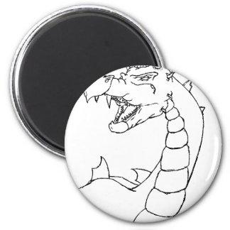 Un dragón poderoso (diseño alineado) imán redondo 5 cm