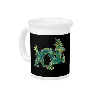 Un dragón verde con la jarra de Porcelian del
