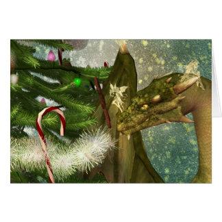 Un dragón y navidad de las hadas tarjeta de felicitación