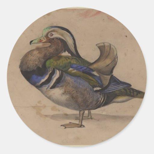 Un drake del mandarín de Eugene Delacroix Etiquetas Redondas