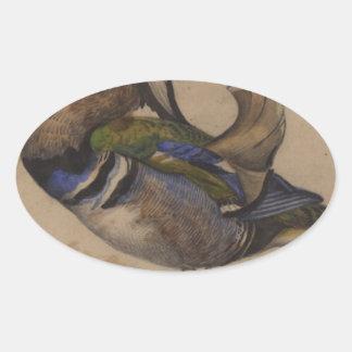 Un drake del mandarín de Eugene Delacroix Pegatina Ovalada