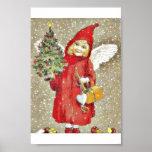 Un dressd del chica con Papá Noel con las alas y e Impresiones
