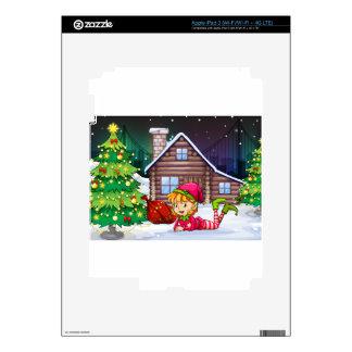 Un duende femenino de Santa cerca del árbol de iPad 3 Skins