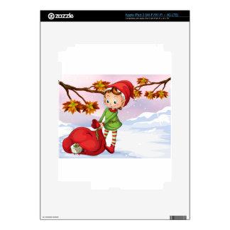 Un duende que sostiene un bolso de regalos iPad 3 skin
