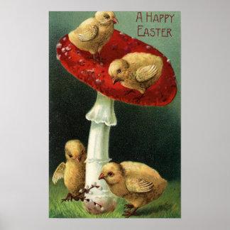 Un EasterChicks feliz en seta roja Póster