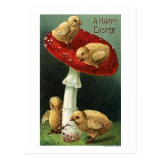 Un EasterChicks feliz en seta roja Postales