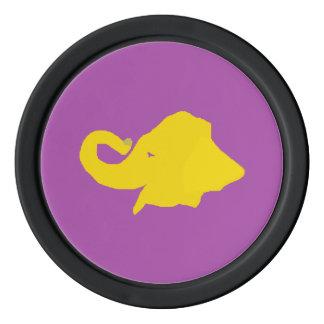 Un elefante amarillo juego de fichas de póquer