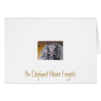 Un elefante nunca olvida tarjeta pequeña