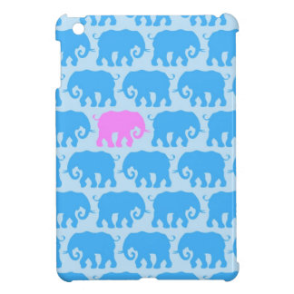 Un elefante rosado en una manada del azul iPad mini coberturas