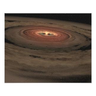 Un enano marrón rodeado por un disco que remolina impresion fotografica