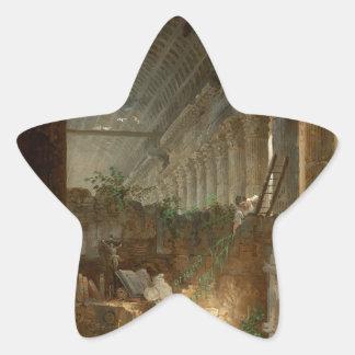 Un ermitaño que ruega en las ruinas de un templo pegatina en forma de estrella