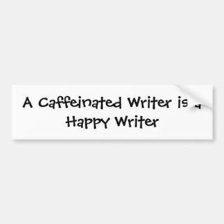 Un escritor de Caffeinated es escritor feliz Pegatina Para Auto